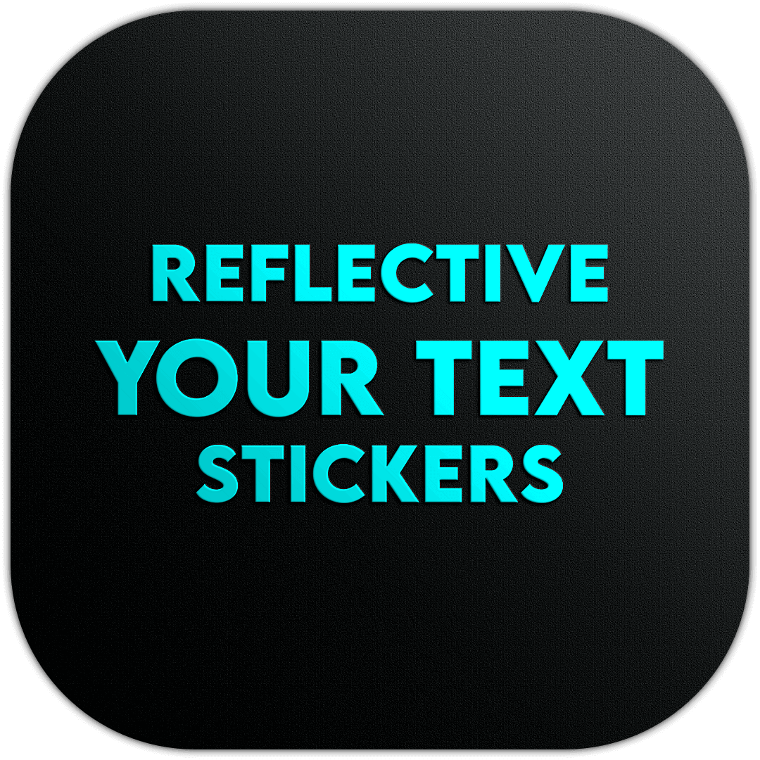 personalized, your, text, chrome, holographic, reflective, oil slick, carbon, special, effect, custom, stickers, your, decal